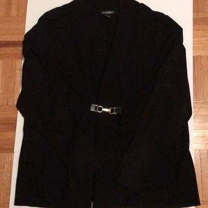 NWOT Black knit sweater w/buckle closure